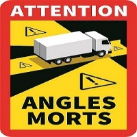 Warning sticker truck/trailer, BLIND SPOT- ANGLES MORTS, FR, 250x170mm, V